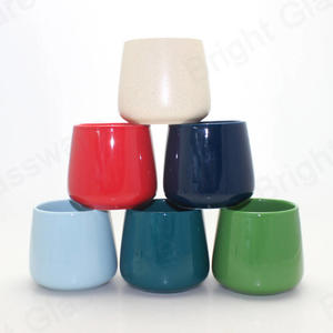 Fashion living room decoration porcelain container colored glazed ceramic candle jars