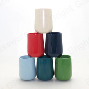 luxury gloss empty ceramic porcelain candle jar vessel for table decoration