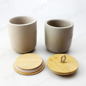 Custom Logo Natural Grey Concrete Candle Jar With Bamboo Lids For Home