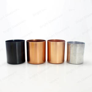 Eco-friendly Black Rose Gold Cylinder Aluminum Metal Candle Jar/Holder