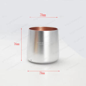 Silver Aluminium Candle Jar With Rose Gold Inside Metal Candle Cup