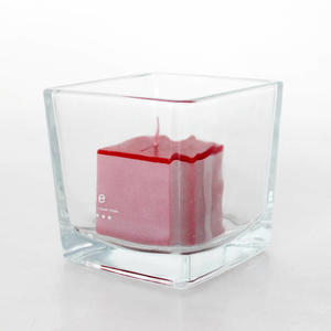560 ml Candle Container Transparent Square Glass Candle Jars For Home Decor