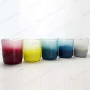 15 oz round shaped glass candle jar spraying color glass candle holder