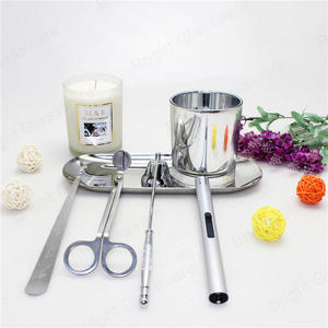 5 pcs home accessories silver wick trimmer stainless steel candle tool set gift tray dipper snuffer modern care