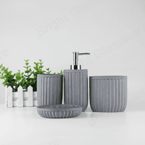 Home Decorations Cement Concrete Matte Grey Bathroom Accessories Set 4 Pieces