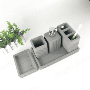 luxury new modern industrial style concrete cement grey european bathroom accessories 5 pieces