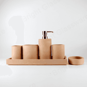 modern 6 pieces cement bathroom accessories kit soap dish toothbrush holder tray shower gel bottle concrete