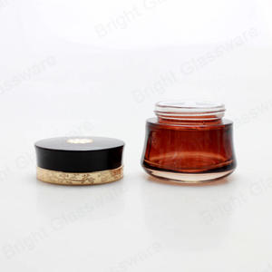 FDA Certificated Custom Logo Amber Cream Glass Jar Cosmetic Jar For Sale