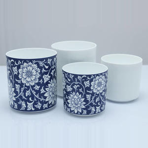 custom pattern white candle jars ceramic candle holder with metal lid