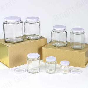 Hexagon Glass Jar For Honey,jam,canning Food With Screw Metal Cap Wholesale
