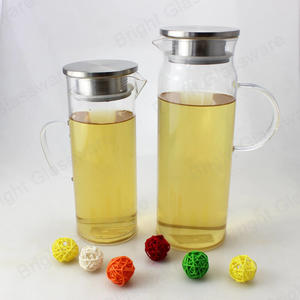 1.3L 1.5L food grade heat resistant high borosilicate glass pitcher with stainless steel lid and packaging box