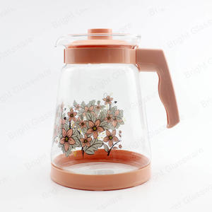 2.5L 2L tea coffee water glass jug with decal printing logo glass teapot with plastic handle
