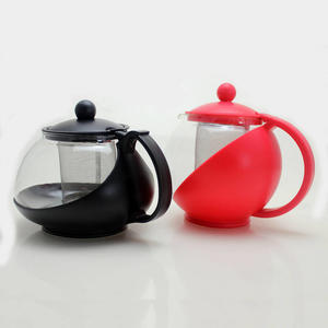 750ml black red heat-resistant glass tea kettle with plastic handle and stainless strainer infuser wholesale