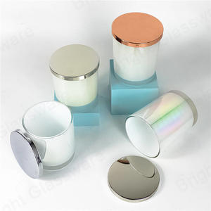 New design colored glass candle vessels with lids for sale uk