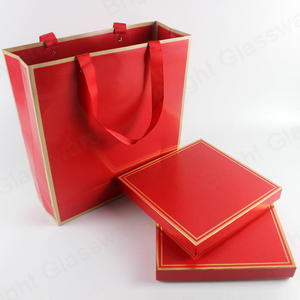 custom high quality Chinese style red cardboard tea gift boxes tea packaging box with paper bags