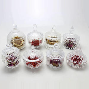Mini clear candy jars set glass candy bowl with lid for Christmas decor