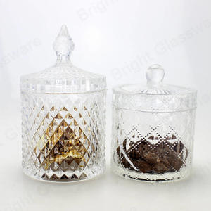 vintage crystal diamond diamond candy bowl dragee biscuit package glass jars with dome lid