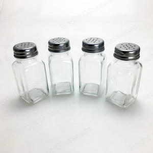 square glass salt and pepper shakers spice jar glass condiment set bottle with metal cap