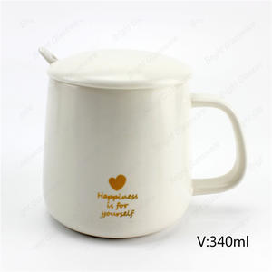 top sale 340ml coffee tea white ceramic mug with lid and spoon