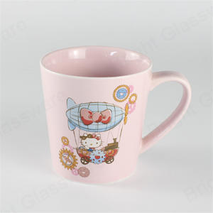 China Supplier Printing Kitty Cat Porcelain Cup Pink Ceramic Mug For Christmas Gift