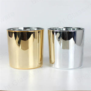 Wholesale Brass Golden Silver Cylinder Glass Candle Vessels To Make Candles