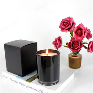 Top Sale Black 9oz Candle Jar Glass With Packaging Box And Scented Soy Wax Candle For Home Aroma
