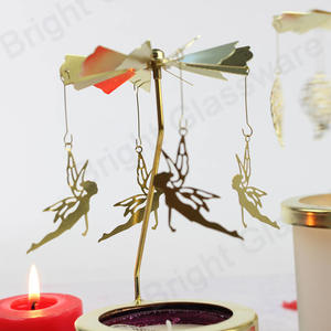 Party Decorative Table Golden Fairy Metal Rotating Spinning Angel Candle Holder Stand With Glass Cup