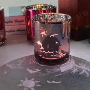 customized romantic pink christmas glass candle jar for room decoration