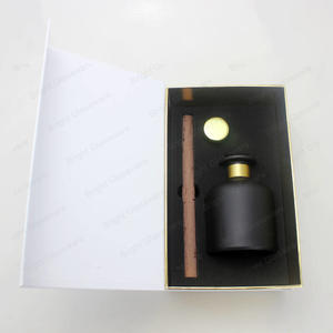 big belly glass matte black reed diffuser bottle gift set with luxury packaging box and cork