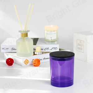 fashionable purple glass candle jars with black wooden lid