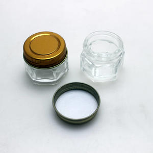 clear hexagon jar with metal lid glass jar for cream cosmetic