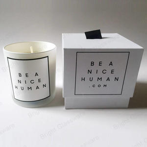 Rigid Cardboard White Candle Boxes With Ribbon For Scented Soy Wax Candle Jar Packaging