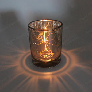 New Design Empty Plating Copper Glass Cup Candle Jars For Wedding Party Decoration