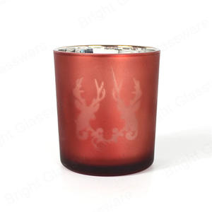Christmas decor electroplating laser etched pink reindeer glass candle holder in bulk