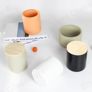 custom colored cement concrete candle vessels with lid wholesale