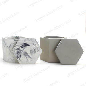 marbling decorative concrete hexagon candle holder with lid