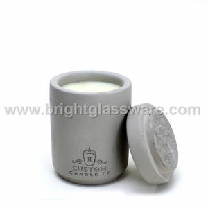 High Quality Soy Wax Tealight Grey Concrete Candle Holder With Lid