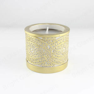 Luxury Gold Trim Natural Soy Wax Concrete Cement Scented Candle Jar