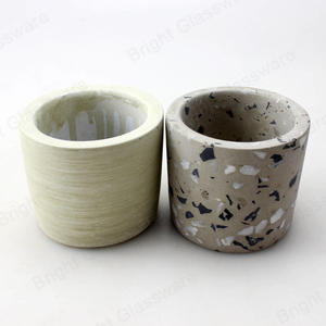 grey concrete candle jar with wooden lid terrazzo planter pot