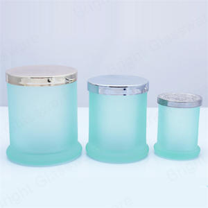 blue glass danube jar with metal lid