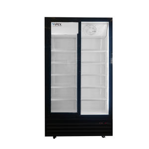 Double Sliding Door Upright Beverage Display Cooler