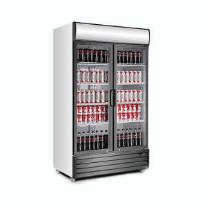 Double Hinge Door Upright Beverage Cooler With Wheels