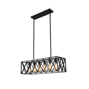 Mirrea Kitchen Island Lighting Fixture with 6 Lights in Rectangle Frame Shade