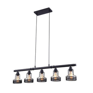 Mirrea Rustic Dining Lights 5 Lights Black Painted