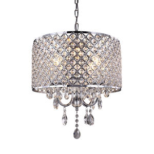 Vintage Metal Large Chandelier with Crystal Beaded Drum Shad