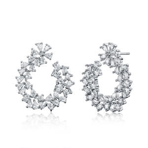ER3613 Marquise CZ Folower Post Earring In Brass/Copper Under Rhodium Plated From China Reliable Jewelry Factory