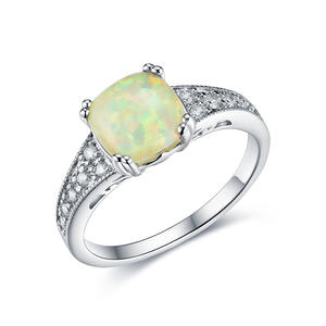 ST2147 Square Opal & White CZ Ring/Pendant/Earring Jewelry Set With Rhodium Plating In Sterling Silver From China Trustable Jewelry Factory