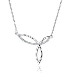 PE3408 Leaves Cross CZ Rhodium Necklace With 1.2mm Cable Chain In Sterling Silver From Trustable Jewelry Exporter In China