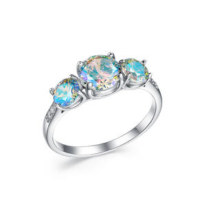 RI4510 Three-Stone Engagement Ring With Mystic AB CZ With Rhodium Plating In Sterling Silver From China Jewelry Exporter