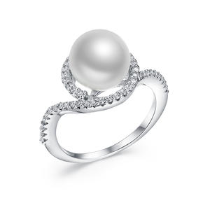RI4509 White Fresh/Shell Pearl With Wax Setting White CZ Surrounded Sterling Silver/Brass Ring Under Rhodium Plated From China Jewelry Supplier